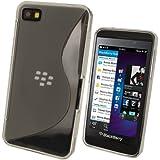 igadgitz S Line Claro Case TPU Gel Funda Cover Carcasa para BlackBerry Z10 Smartphone + Protector de pantalla