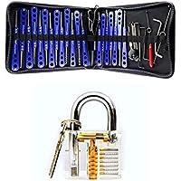 H & H Juego de destornillador y herramientas de ganzúas con práctica cerradura transparente para cerrajeros