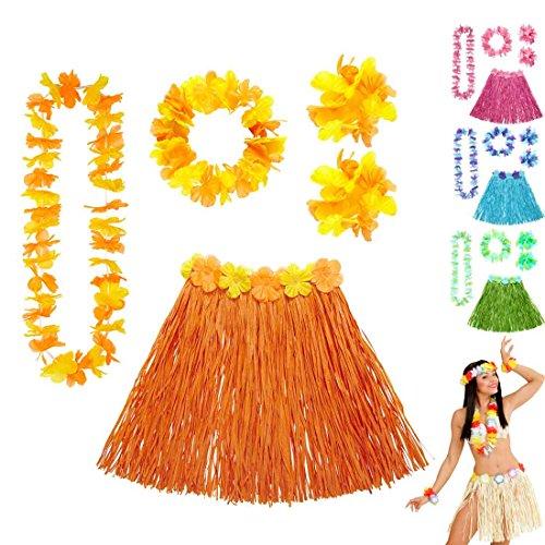 umenkette Hawaii Hula Set orange Hawaikette Baströckchen Limbo Party Outfit Südsee Kostüm Zubehör Strandparty Beachparty ()