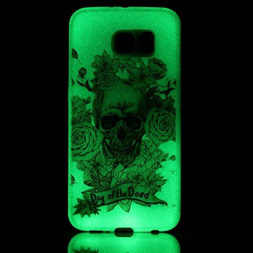 CaseHome Samsung Galaxy S7 Luminous Hülle (Mit Frie Displayschutzfolie) Leuchtende Silikone Rückhülle Für iPhone 6 6s Plus 5.5 Zoll Zoll Silikon Etui Handy Hülle Weiche Transparente Luminous TPU Back  Gold Schädel-Rosen