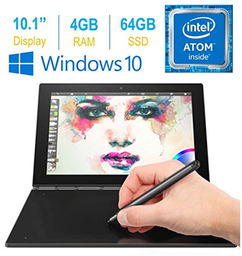 "2017 Newest Lenovo Yoga Book 10.1"" FHD Touch IPS 2-in-1 Convertible Tablet PC, Intel Atom x5-Z8550 1.44GHz, 4GB RAM, 64GB SSD, Bluetooth, HD Graphics, Windows 10 Home- Carbon Black"