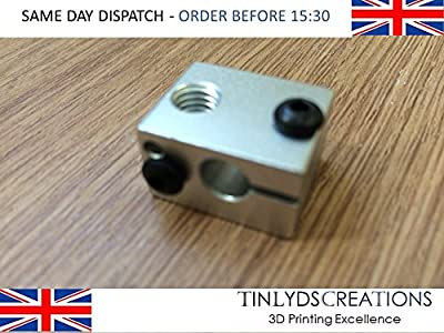 1x E3D v6 Extruder Heat Block Prusa Reprap 3D printer part by tinlydscreations