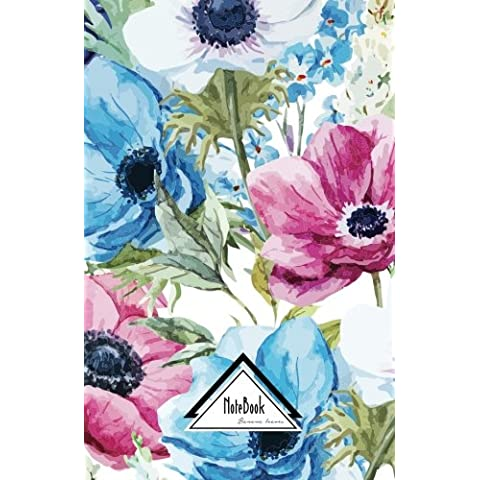 Pink Blue Classic Floral Small Pocket Notebook: