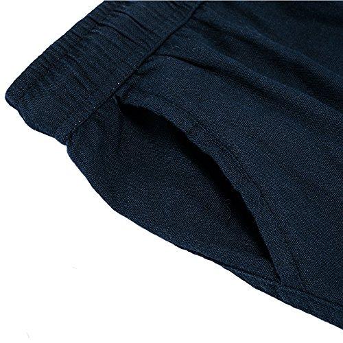 donhobo Herren Hosen Leinen mit Seitentaschen Lässige Hose Loose Freizeithose Dunkelblau