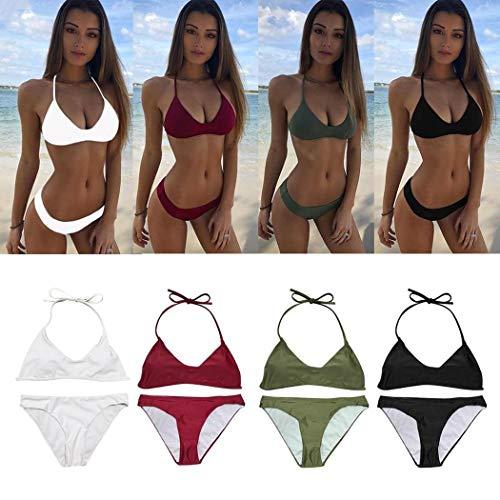 Voiks Womens Sexy Color sólido Bikini Brasileño - Tanga Triángulo Suave Acolchado Escote de Escape Bikini Set de Traje de baño