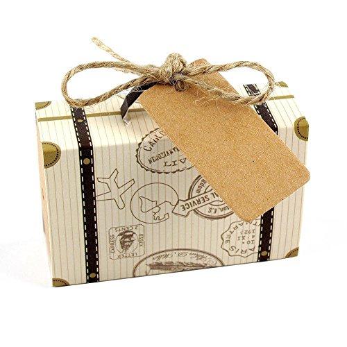 Reise-thema (Fashion ER 50 stücke Reise Thema Mini Koffer Pralinenschachtel Kraftpapier Container Hochzeit Gunsten)