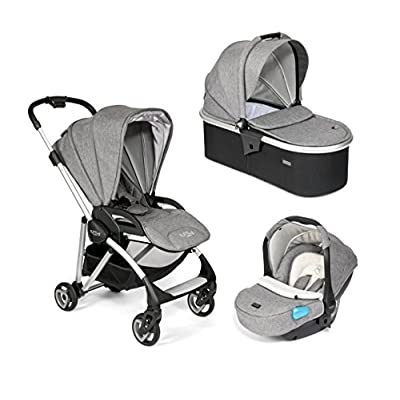 Tutti Bambini Koji 3 in 1 Travel System with Infant Car Seat, Carrycot and Pushchair - Ultra Lightweight Easy Folding Buggy with Extendable Sun and Rain Cover & Adjustable Handle (Silver/Charcoal)