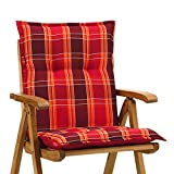 6 Sessel Auflagen 8 cm dick 103 cm lang in rot kariert Miami 90509-300 (ohne Stuhl)