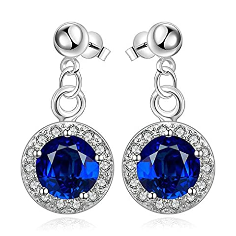 Gnzoe Jewelry 18K Silver Plated Drop Earrings Round Blue Crystal Eco Friendly