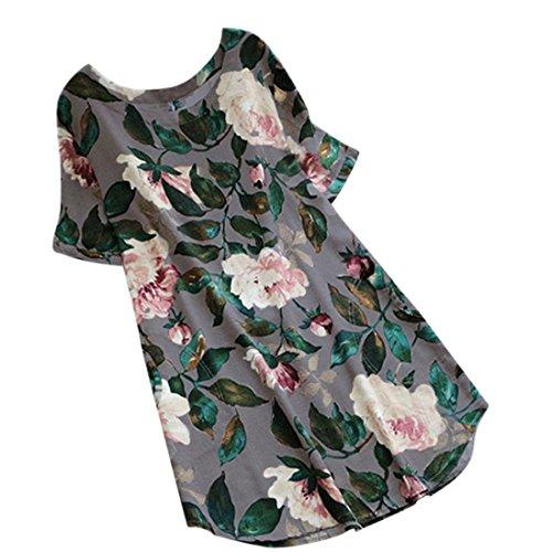 Kanpola Damen Kleider Elegant Frauen Frühling große größen Leinen Baumwolle Langarm Shirt Minikleid Blumen Kleid (EU-46/CN-3XL, Grau)