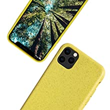 eplanita Eco iPhone 11 Mobile Phone Case, Biodegradable and Compostable Plant Fibre and Soft TPU, Drop Protection Cover, Eco Friendly Zero Waste (iPhone 11, Yellow)