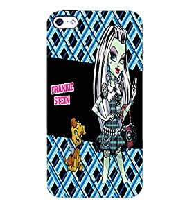 PrintDhaba Kitty and Girl D-2158 Back Case Cover for APPLE IPHONE 5S (Multi-Coloured)