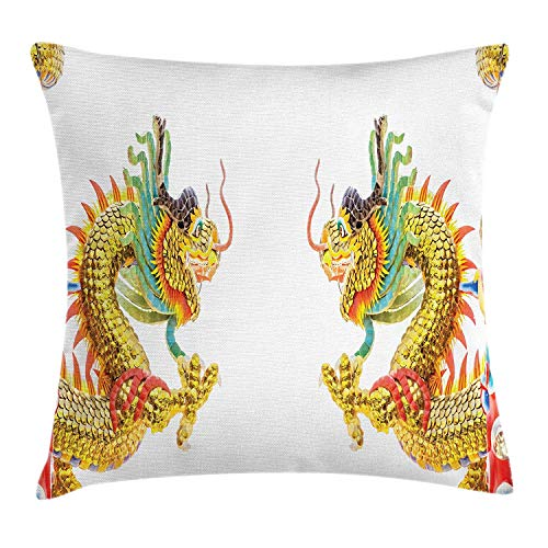 ZTLKFL Dragon Throw Pillow Cushion Cover, Chinese Style Dragon Statue Spiritual Power Asian Symbol Oriental Culture Theme, Decorative Square Accent Pillow Case, 18 X 18 Inches, Multicolor Dragon Silk Coat