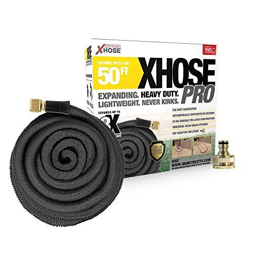 XHose Pro 15,2 m Super léger Extensible Tuyau d'arrosage avec raccords de Laiton Massif - Noir