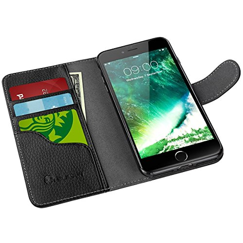 Custodia Portafoglio iPhone 7 Plus iPhone 8 Plus, i-Blason [Wallet Case] - Custodia in pelle Premium Quality / Custodia a Portafoglio / Wallet / Vera Pelle per Apple iPhone 7 Plus / iPhone 8 Plus - Co NERO ( iPhone 7 Plus )