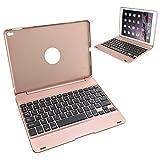 Earto Étui Avec Clavier AZERTY , Clavier Bluetooth Sans Fil - Pour iPad Pro 9.7 / iPad Air 2 - Coque Avec Clavier Ultra-Mince - Auto-Sommeil / Réveil - Doré Rose