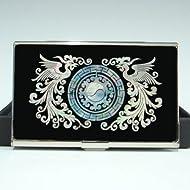 Mother of Pearl Phoenix nom pour homme Design-cartes rigide fine en acier inoxydable gravé monnaie portefeuille