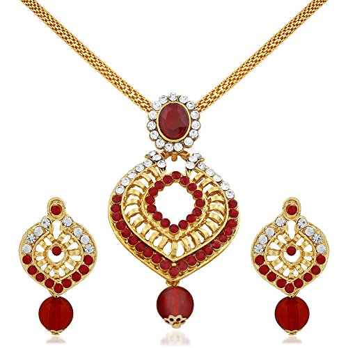Apara Gold Plated Red and White Austrian Diamond Pendant Set for Women