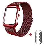 iBazal For Apple Watch Series 3 Band, Apple Watch Strap 38mm Protective Case Upgraded Milanese Stainless Steel for All 38mm Apple Watch Series 3 & Series 2 & Series 1 Version - Red 38mm