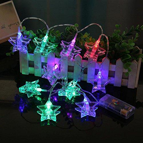 Wawer Vorhang Star Lights String Foto Clip Lampe Haus Party Dekor auffällig mit 10 LED-Perlen Partylichterkette Weihnachtslichterketten Deko für Innen Balkon Party Hochzeit Weihnachten (Mehrfarbig)