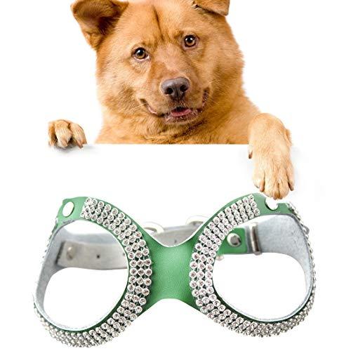 KYS Pet Leash Sizing: S, Pet Leine Strass Leder Brille Stil Breathable Dog Brustgurt (Farbe : Grün) (Brillen-leash)