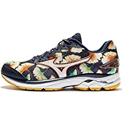 'Mizuno Women Running Shoes Wave Rider 20 W Osaka Edition Flower Print, Blau Gelb (956)