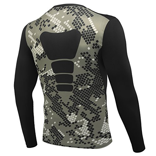 AMZSPORT Herren Kompressions-Shirt langärmlig Funktionsshirts BaseLayer Langarm Tarnung Serie M Hulk Männer Hosen