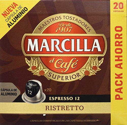 Marcilla Café Espresso Ristretto - Intensidad 12 - 20 Cápsulas de aluminio compatibles con cafeteras Nespresso®* - 20 Unidades