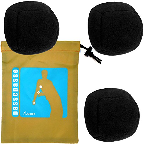 Kit 3 Bälle zum Jonglieren, Jonglierbälle - 6 Multiplex synthetischen Wildleder Platten 90g Schwarz
