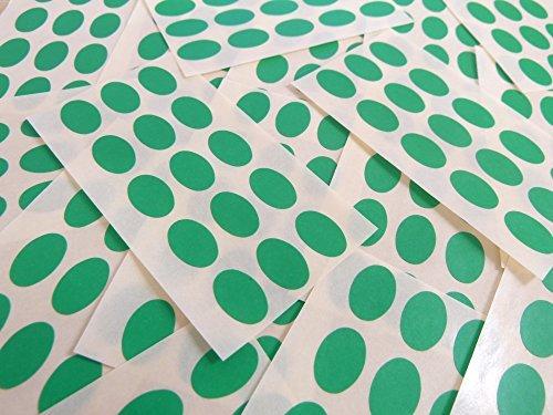 15x10mm Verde Medio Forma Ovalada Etiquetas, 150 auta-Adhesivo Código De Color Adhesivos, adhesivo óvalos para Manualidades y Decoración