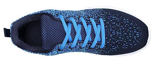 KOUDYEN Damen Laufschuhe Atmungsaktiv Turnschuhe Schnürer Sportschuhe Sneaker Blau
