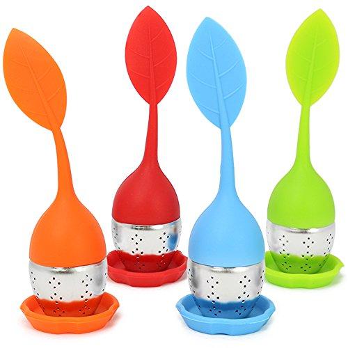 COM-FOUR 4x Tee Ei Sieb Teeei Teesieb für Teeliebhaber - 4er Set - blau, rot, grün, orange