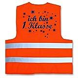 Ich bin 1. Klasse ! Warnweste zur Einschulung Schulanfang ABC Schützen Gr. XS 120-140 cm Neonorange
