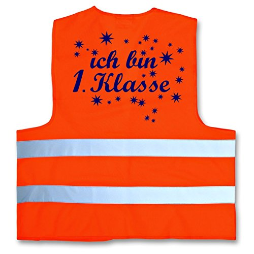 Ich bin 1. Klasse ! Warnweste zur Einschulung Schulanfang ABC Schützen Gr. XS 120-140 cm Neonorange (Shirts Abc)