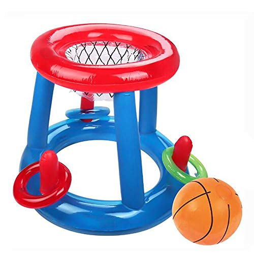 FXQIN Schwimmende Pool Basketball Hoop - Pool Spielzeug für Kinder Aufblasbare Blow Up Ball Sommer Schwimmen Wassersport Spiel Spielzeug, für Erwachsene und Jugendliche