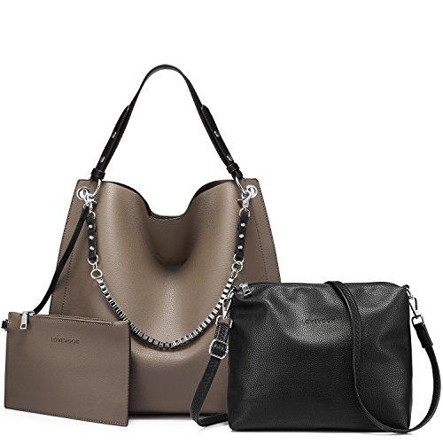 Damen Handtaschen Umhängetasche Geldbeutel Schultertasche Tote Handtaschen set 3 Stück groß große Kapazität Grau (Handschuhe Tasche Leder Frauen)