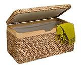 artra design GmbH Truhe mit Klappdeckel Wasserhyazinthe hell klein, mit Zierrahmen aus Massivholz