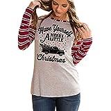 UOMOGO T-Shirt Le Donne di Natale Piccolo Cervo Stampato Motivo a Strisce Molto Pratico di Feste e Compleanni Centritavola Soprammobili Natalizi
