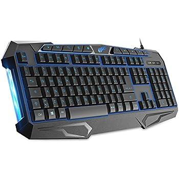 1byone Tastiera da Gioco Retroilluminata a 114 Tasti con Cavo, Tastiera da Gaming con Comandi Rapidi Shortcuts e Illuminazione Lampeggiante, Nera
