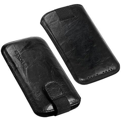 Originale borsa in pelle EXXCASE Desiderato Nero per Blackberry (RIM) Curve 9380 con funzione di ritiro , Tasca cellulare , Case , Copertina , Custodia , Slide , Protezione Del Display , Sicuro