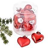 Dadeldo Living & Lifestyle Weihnachtskugel Herz Premium 10er Set Glas 5x4x2cm Xmas Baumschmuck (Rot)