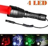 Odepro KL41 Torcia elettrica da caccia con LED Rosso, Verde, Bianco, IR850 e Switch Remoto