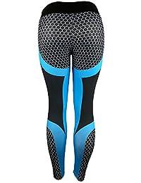 Leggings Yoga Mujer Pantalones Deportivos Mujer Largos Leggings para Running Deportes 3D Impresión Pantalones Push up Mujer Legging Pantalon Fitness Polainas de Gimnasio Amlaiworld (Azul, S)