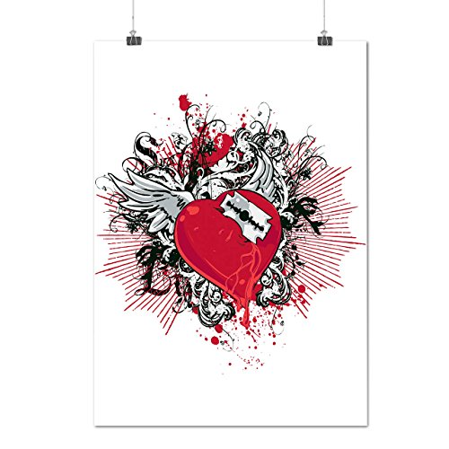 Gebrochen Herz Cool Mode Rasierer Klinge Mattes/Glänzende Plakat A3 (42cm x 30cm) | (Billig China Aus Kostüme)