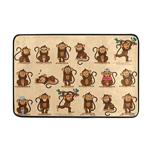 jstel Charakter Cartoon Affe Emoticons-Fußmatte waschbar Garten Büro Fußmatte, Küche ESS-Living Badezimmer Pet Eintrag Teppiche mit Rutschfeste Unterseite 59,9x 39,9cm