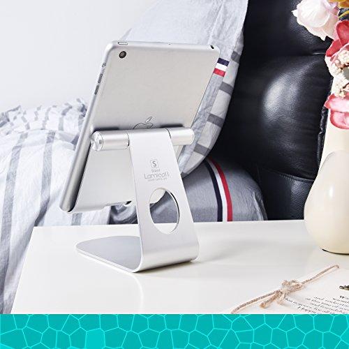 """iPad Ständer Verstellbare, Lamicall Tablet Staender : Universal Halter, Halterung, Dock, Wiege für iPad Pro 10.5 / 9.7, iPad Air 2 3 4, iPad mini 1 2 3 4, Samsung Huawei E-Reader und Google Nexus 7 10 4 Tablette Schreibtisch, andere Tab Smartphone 5""""-13"""" – Silber - 9"""