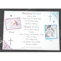 25, 50, 75 o 100 x personalizzato Twins / ragazze / ragazzi / o Girls & Boys battesimo / Battesimo Inviti Design (A), con o senza fotografia & Free Buste