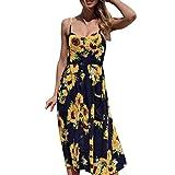MRULIC Damen Wrap Cold Shoulder Falbala Große Schaukel Split Front Bohemian Floral Printed Lange Maxi Kleid(Gelb,EU-38/CN-M)