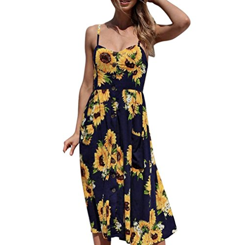 Women Dress,  Familizo Fashion Women Sexy Printing Buttons Princess Dress Off Shoulder Sleeveless Dress V-Neck Slim Casual Mid-Calf Skirt
