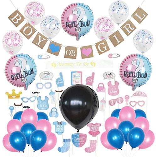 Trendrange Babyparty Geschlecht Gender Reveal Party Dekorationen Requisiten Party Supplies Boy or Girl Ballon Set Ballon Rosa Blaue Konfetti Spiralen Geschlecht offenbaren für Jungen oder Mädchen